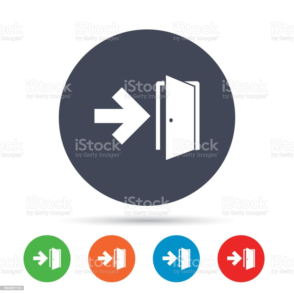Emergency Exit Sign Icon Door With Right Arrow Stock Vector Art
