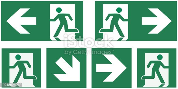 emergency exit sign set - pictogram vector illustration