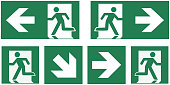emergency exit sign set - pictogram vector illustration   -