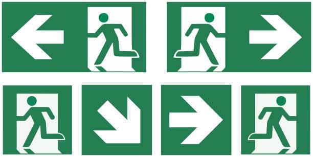 ilustraciones, imágenes clip art, dibujos animados e iconos de stock de señal salida de emergencia establecido - ilustración de vector de pictograma- - despedida