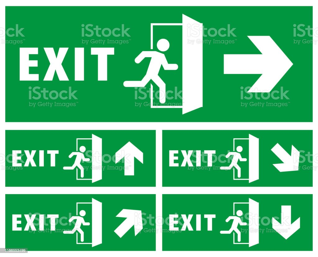 emergency exit sign isolated background