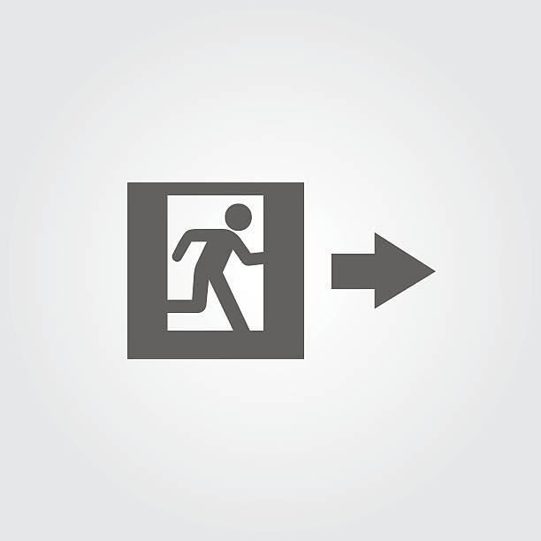 bildbanksillustrationer, clip art samt tecknat material och ikoner med emergency exit sign - construction workwear floor