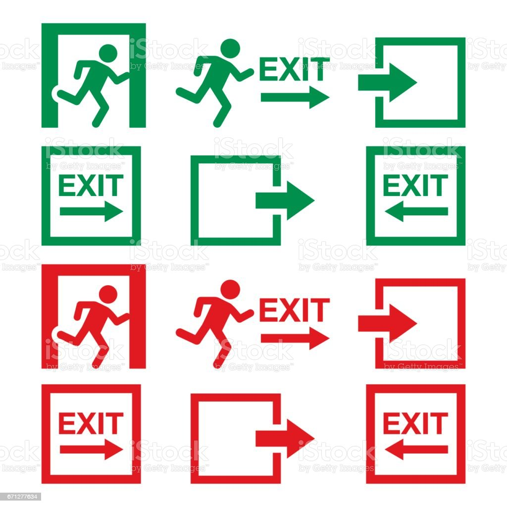Emergency exit sign, warning icons vector set in green and red vector art illustration