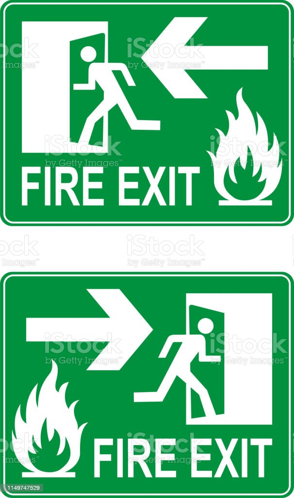Emergency exit up and down signs. Vector.