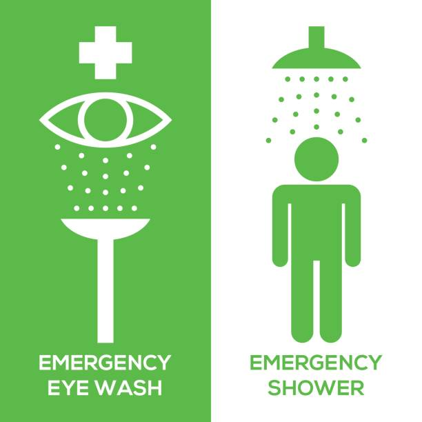 emergency eye wash and emergency shower pictogram icon, silhouette design emergency eye wash and emergency shower pictogram icon, silhouette design station stock illustrations
