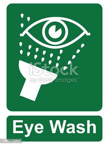 istock Emergency Eye wash sign. ESP10 1310105892