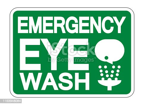 Emergency Eye Wash Sign Isolate On White Background,Vector Illustration