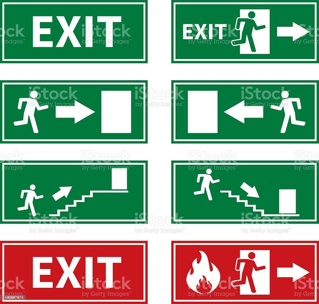 Fuego señales de salida de emergencia de - ilustración de arte vectorial