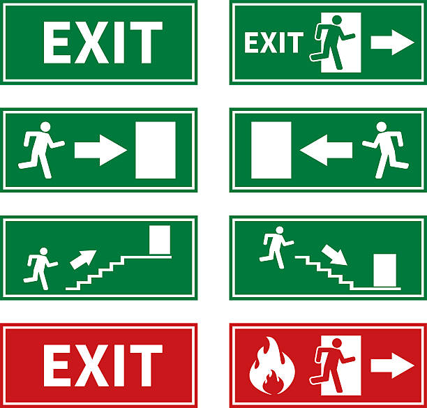 Emergency Fire Exit Signs Emergency Fire Exit Signs escaping stock illustrations