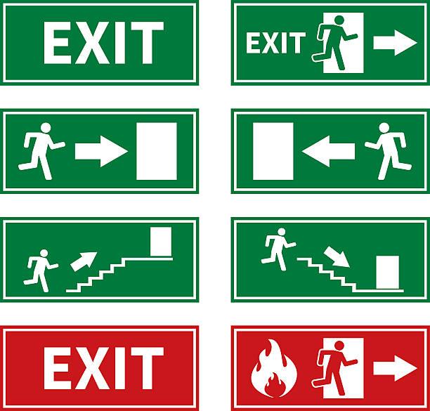 ilustraciones, imágenes clip art, dibujos animados e iconos de stock de fuego señales de salida de emergencia de - despedida
