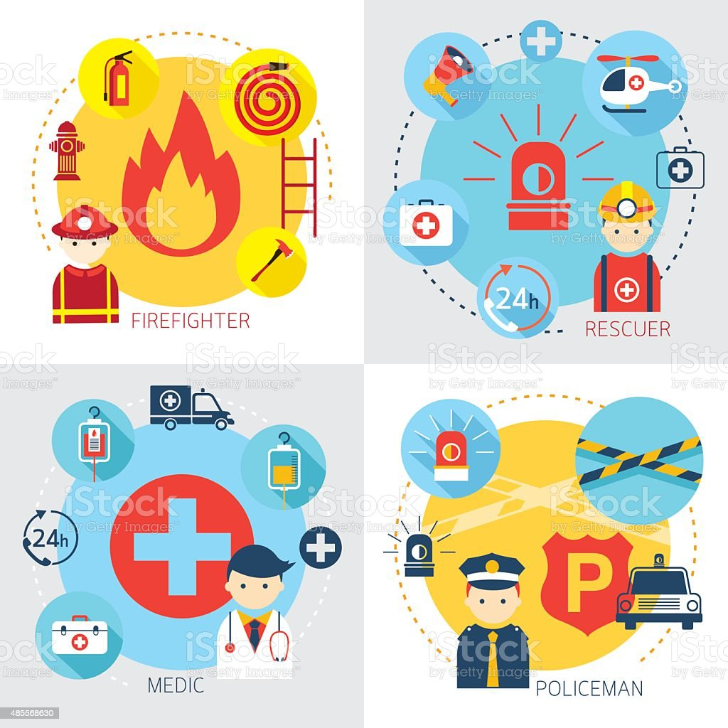 Emergency, Firefighter, Rescuer, Medic, Policeman vector art illustration