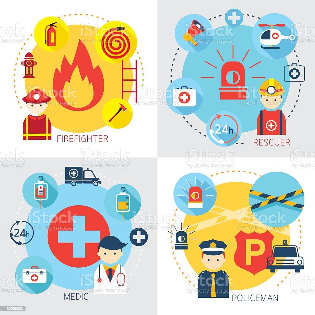 Emergência, Bombeiro, salva-vidas, médico esportista, um polícia - ilustração de arte em vetor