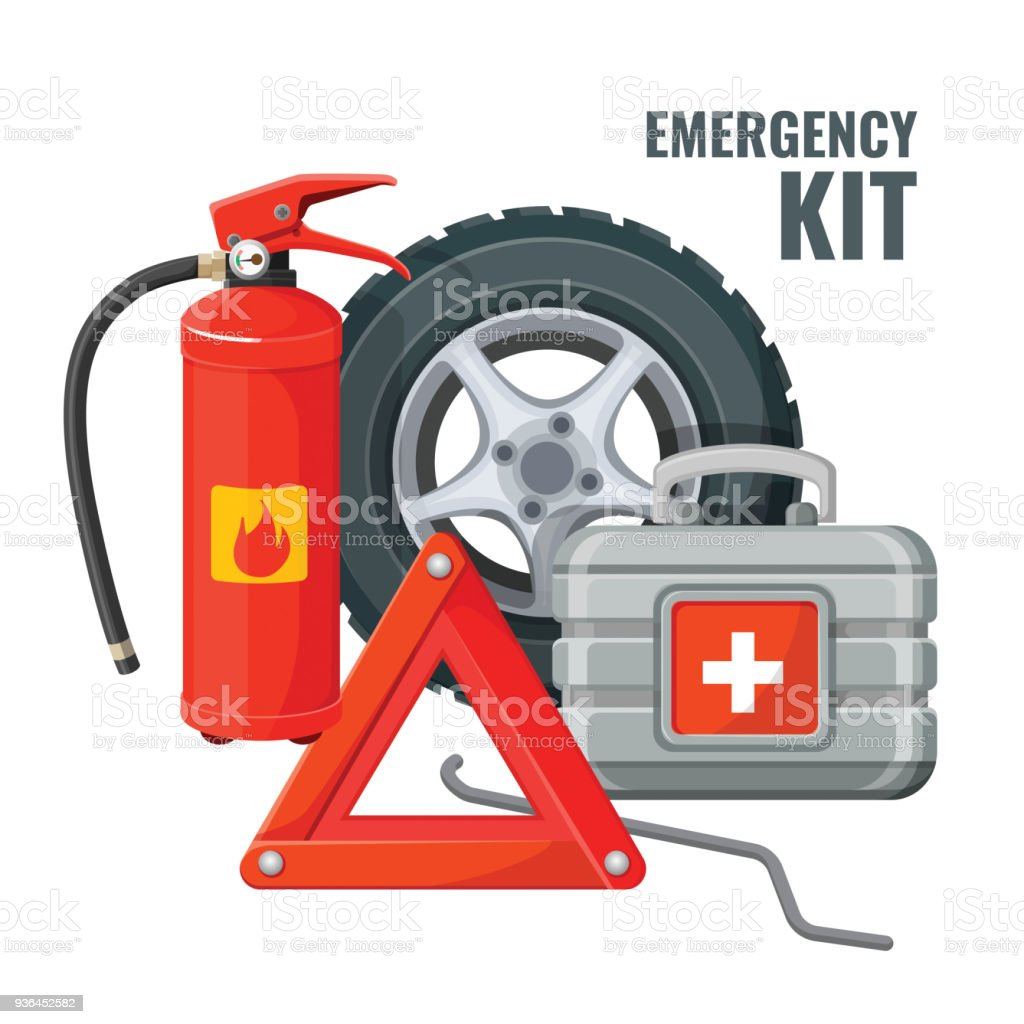 Emergency first aid kit and necessary auto service equipment vector vector art illustration
