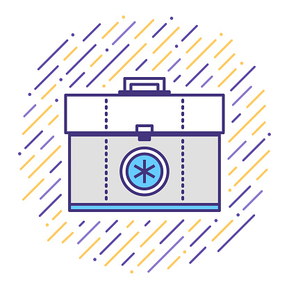Emergency First Aid Kit Flat Line Icon Illustration