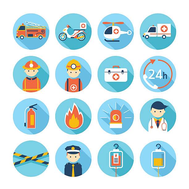 Emergency Flat Icons Set vector art illustration