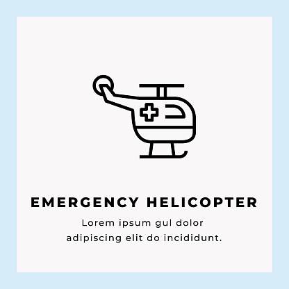 Emergency Helicopter Line Icon Stock Illustration