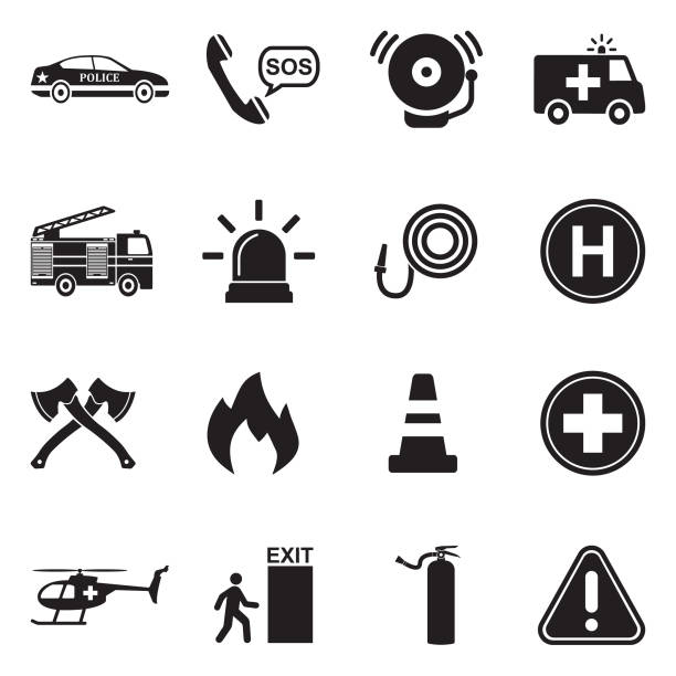 Emergency Icons. Black Flat Design. Vector Illustration. Police, Fireman, Hospital, Help, Emergency accidents and disasters stock illustrations