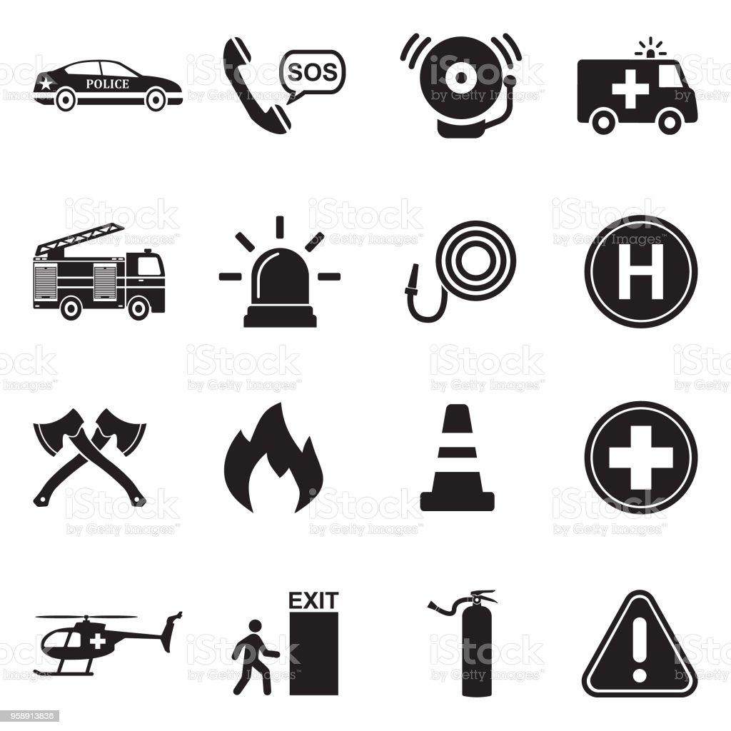 Ícones de emergência. Projeto liso preto. Ilustração em vetor. - ilustração de arte em vetor