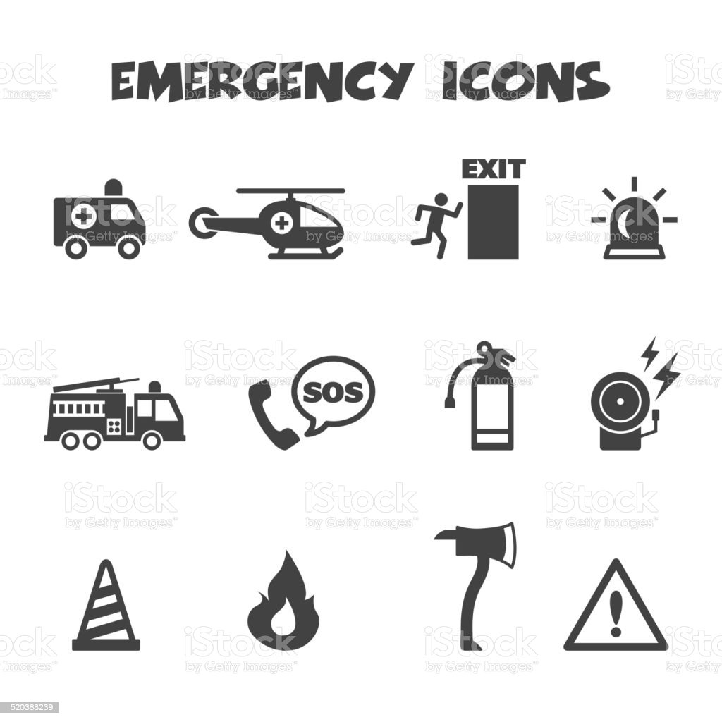 emergency icons vector art illustration