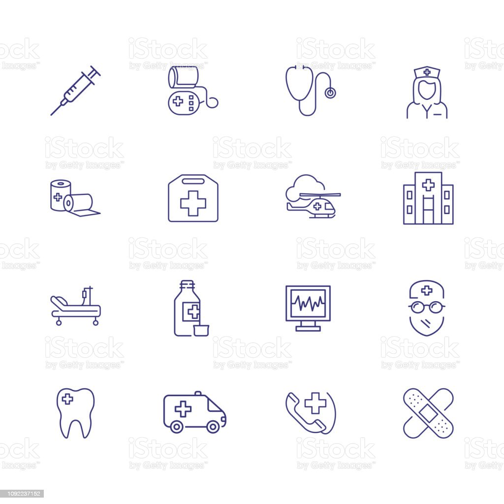Emergency line icon set. Syringe, helicopter, ambulance. Medicine...