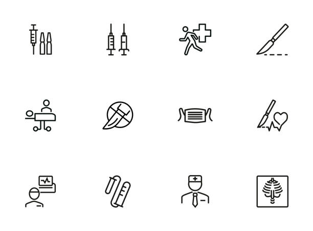 Emergency line icon set. Syringe, surgery Emergency line icon set. Syringe, surgery, doctor. Medicine concept. Can be used for topics like attack, accident, disease surgery stock illustrations