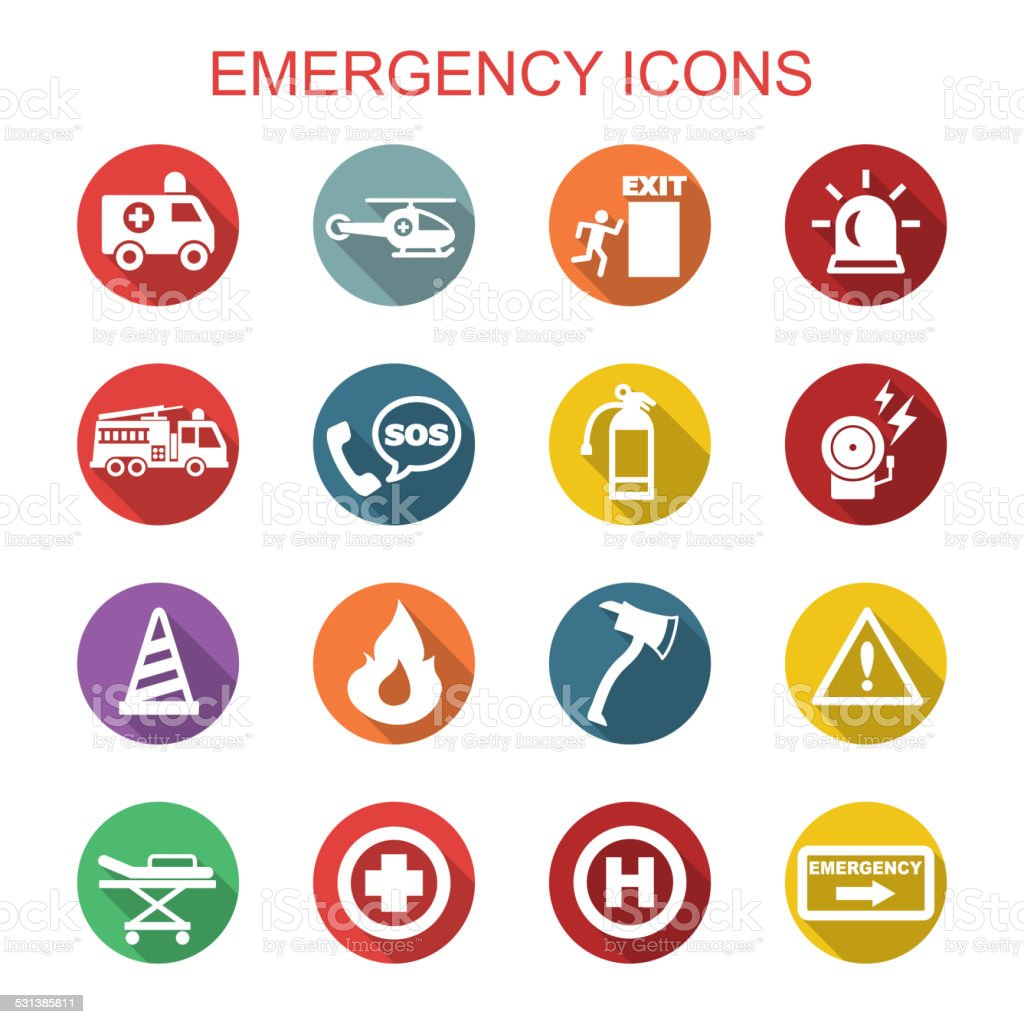 emergency long shadow icons vector art illustration