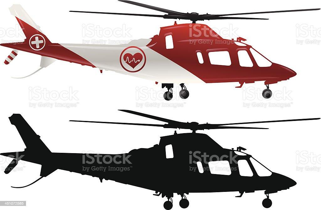 Emergency Medical Helicopter vector art illustration