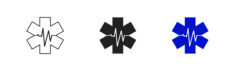 Emergency medical icon star on white background. Flat set vector