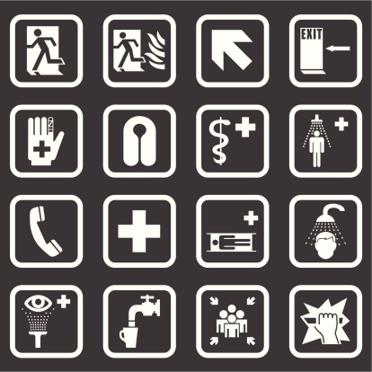 Emergency Medical & Safety Signs (White Series)