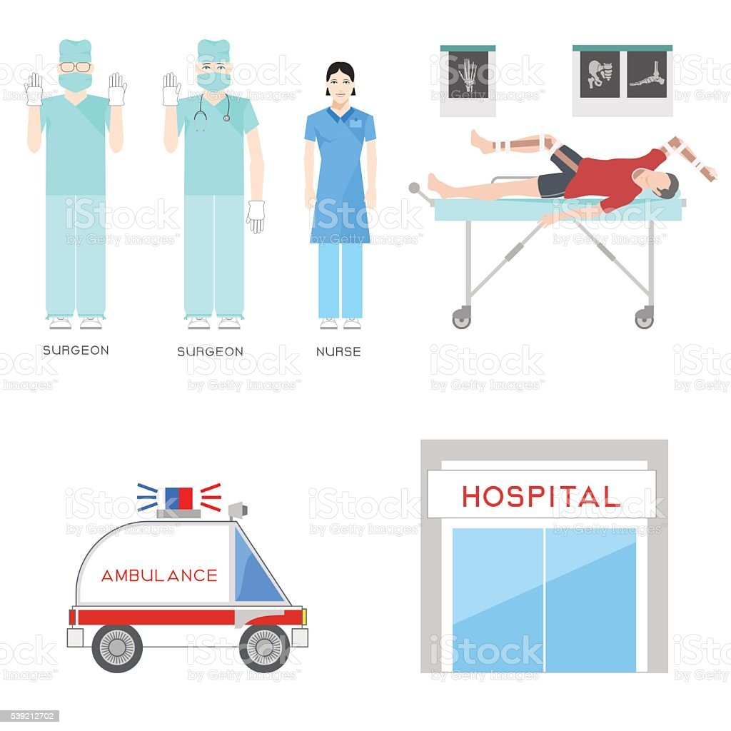 Emergency medical service vector art illustration