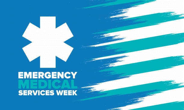 Emergency Medical Services Week in May. Celebrated annual in United States. Control and protection. Medical health care design. Poster, card, banner and background. Vector illustration vector art illustration