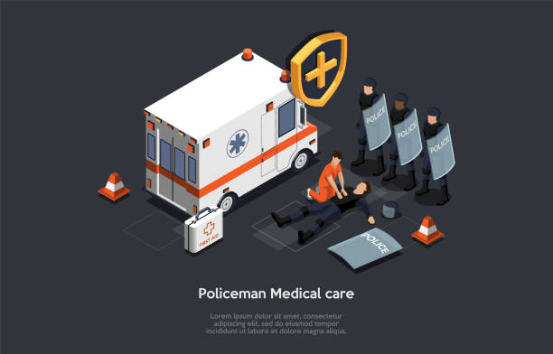 Emergency Medical Technician Rescue Policeman Life During Mass Protest Actions. Counter-Terrorist Police Squad Special Forces With Shields Near Ambulance. Cartoon Isometric 3D Vector Illustration Emergency Medical Technician Rescue Policeman Life During Mass Protest Actions. Counter-Terrorist Police Squad Special Forces With Shields Near Ambulance. Cartoon Isometric 3D Vector Illustration. police meeting stock illustrations