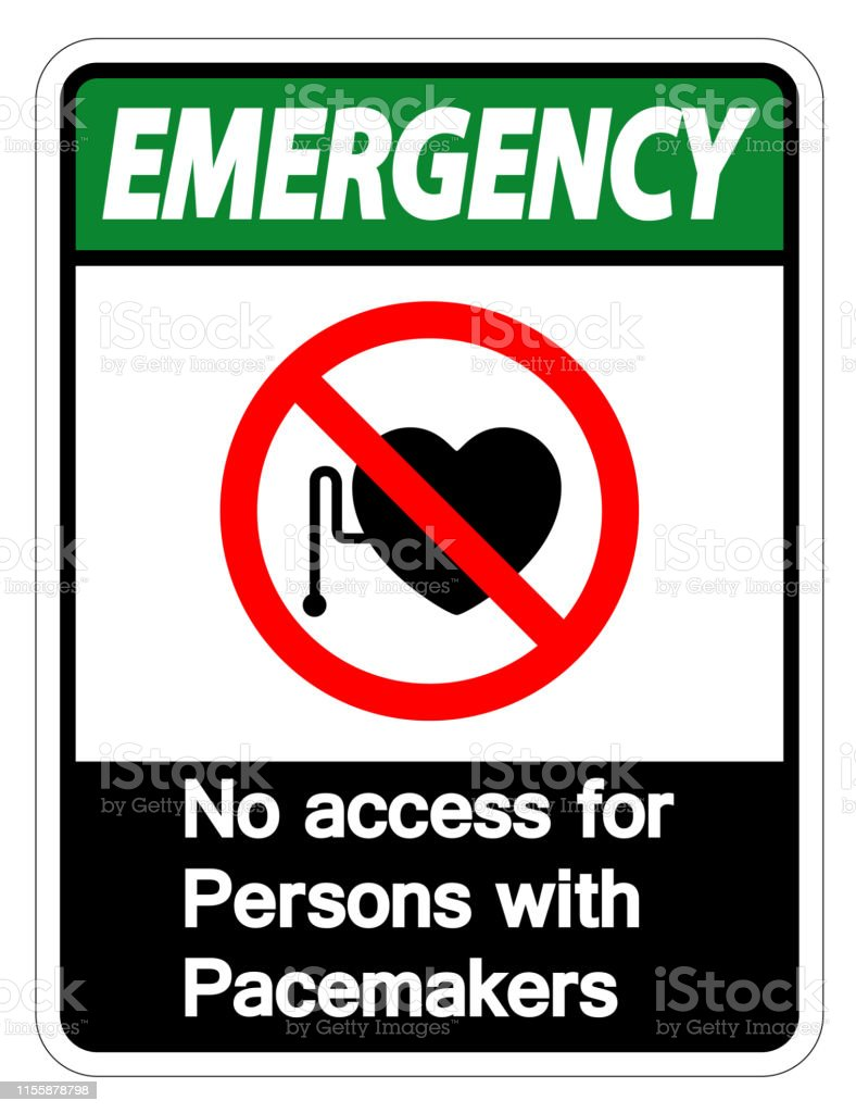 Emergency No Access For Persons With Pacemaker Symbol Sign Isolate On...