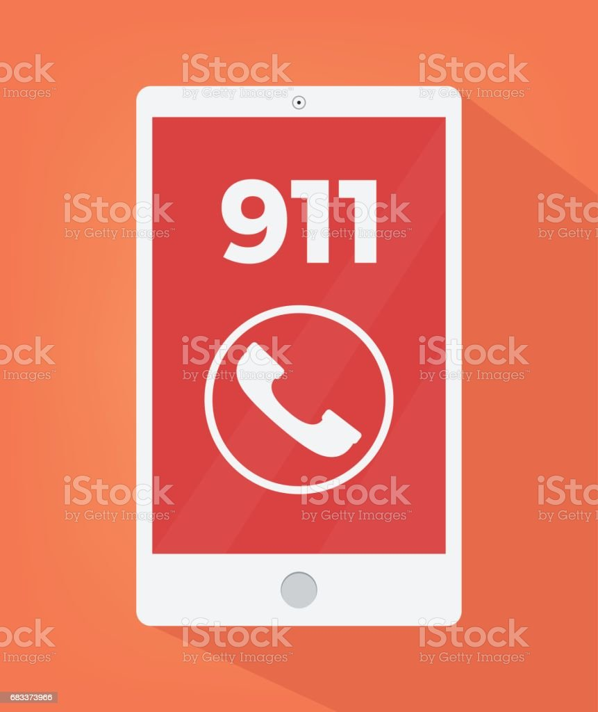 Emergency number 911 on smart phone screen icon vector art illustration