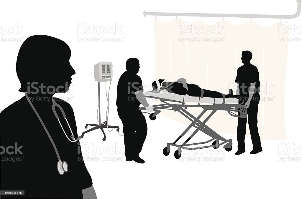 Emergency Patient Vector Silhouette royalty-free emergency patient vector silhouette stock vector art & more images of accidents and disasters
