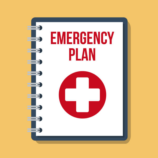emergency plan documents in paper binder, vector flat illustration emergency plan documents in paper binder, vector flat illustration accidents and disasters stock illustrations