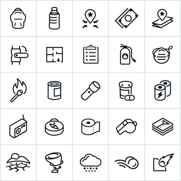 illustrazioni stock, clip art, cartoni animati e icone di tendenza di emergency preparedness icons - fischietto