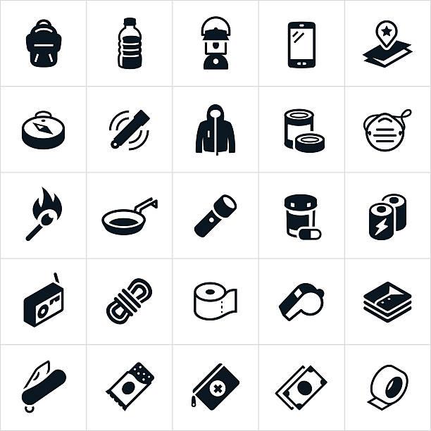 emergency preparedness supplies icons - ペットボトル点のイラスト素材/クリップアート素材/マンガ素材/アイコン素材
