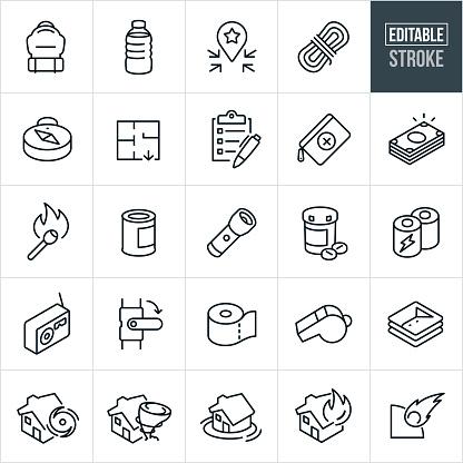 Emergency Preparedness Thin Line Icons - Editable Stroke