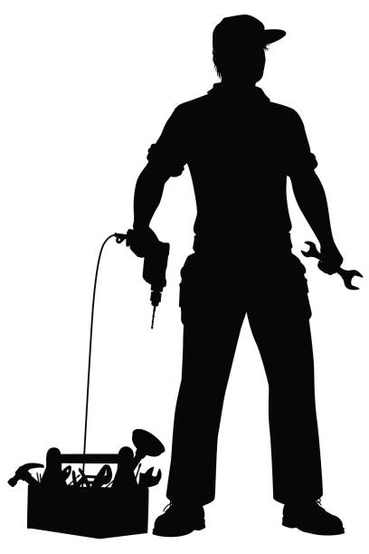 Emergency repairman silhouette vector art illustration