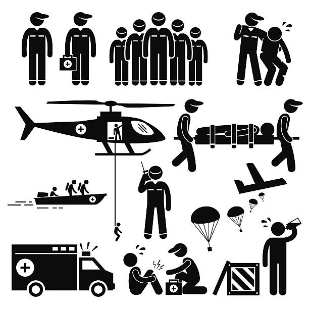 stockillustraties, clipart, cartoons en iconen met emergency rescue team stick figure pictogram icons - red