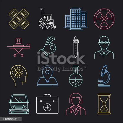 Emergency response and relief operation neon style concept outline symbols. Line vector icon sets for infographics and web designs.