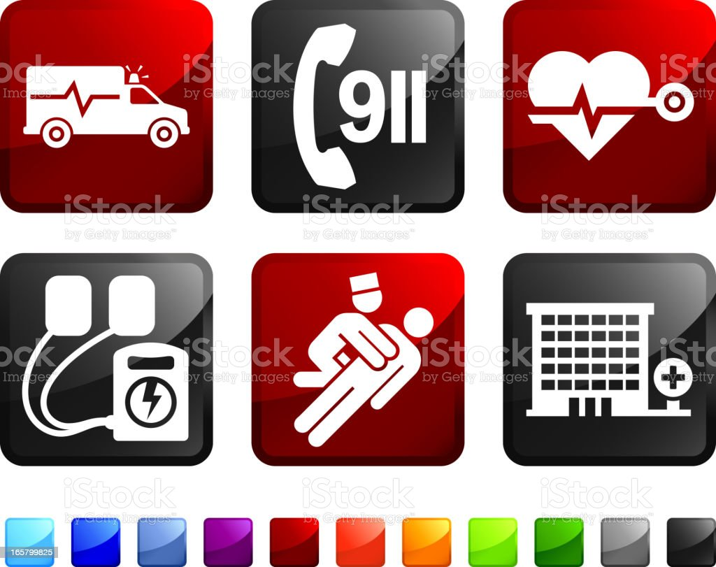 Emergency Room and Hospital Services vector icon set stickers vector art illustration