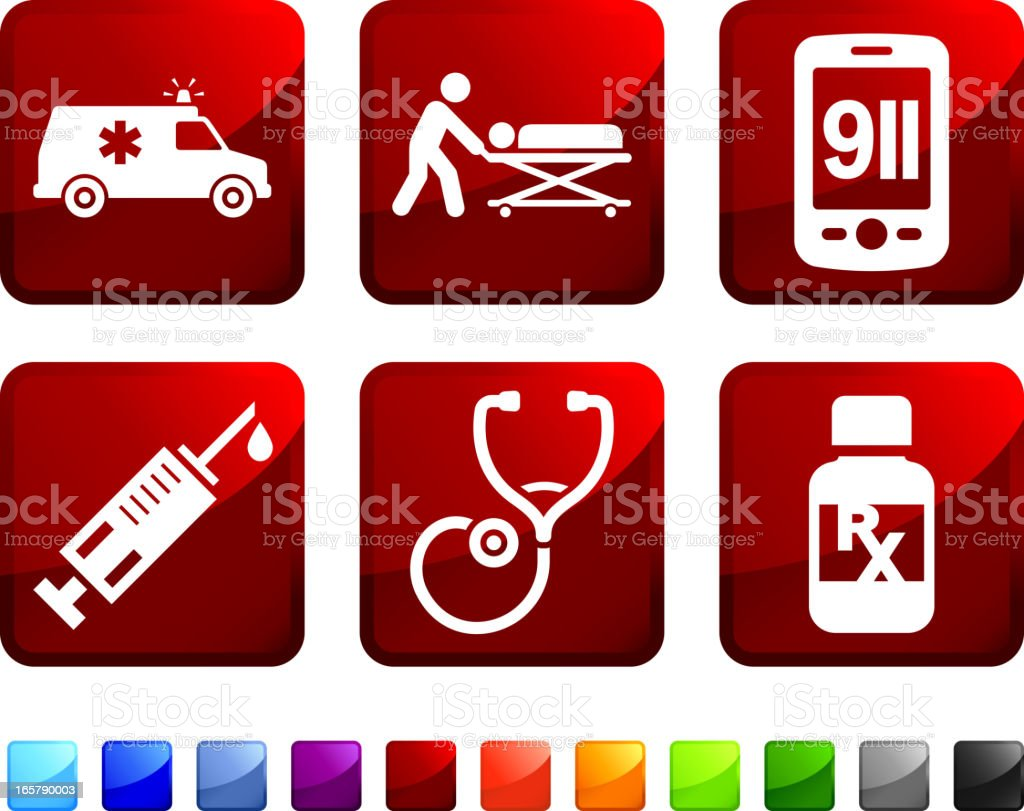 Emergency Room Services royalty free vector icon set stickers vector art illustration