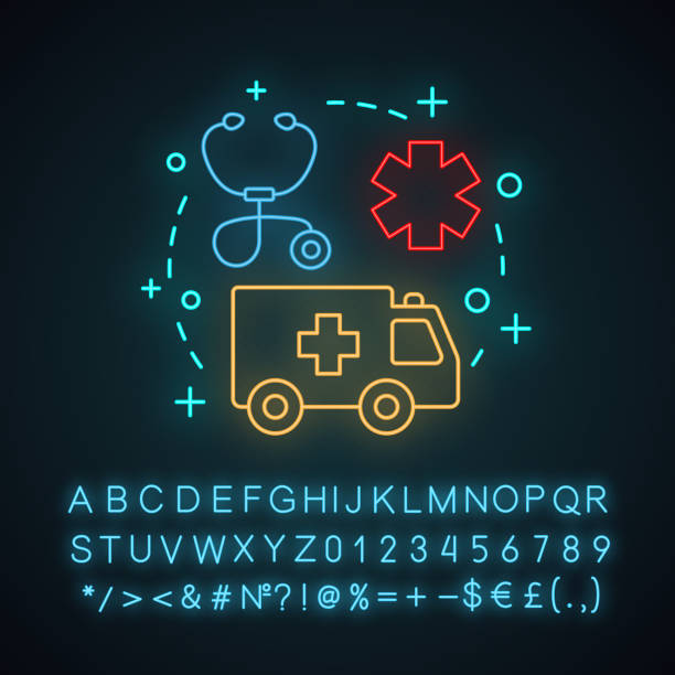 Emergency service neon light concept icon Emergency service neon light concept icon.  Medicine and healthcare idea. Ambulance. Glowing sign with alphabet, numbers and symbols. Vector isolated illustration emergency response stock illustrations