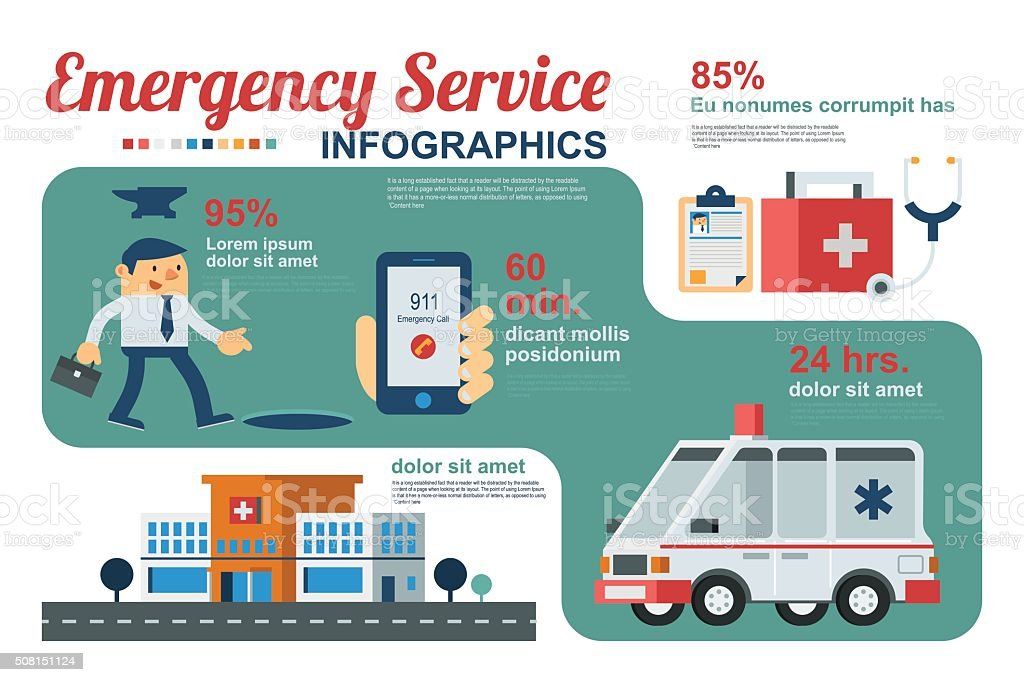 Emergency Service Workflow vector art illustration
