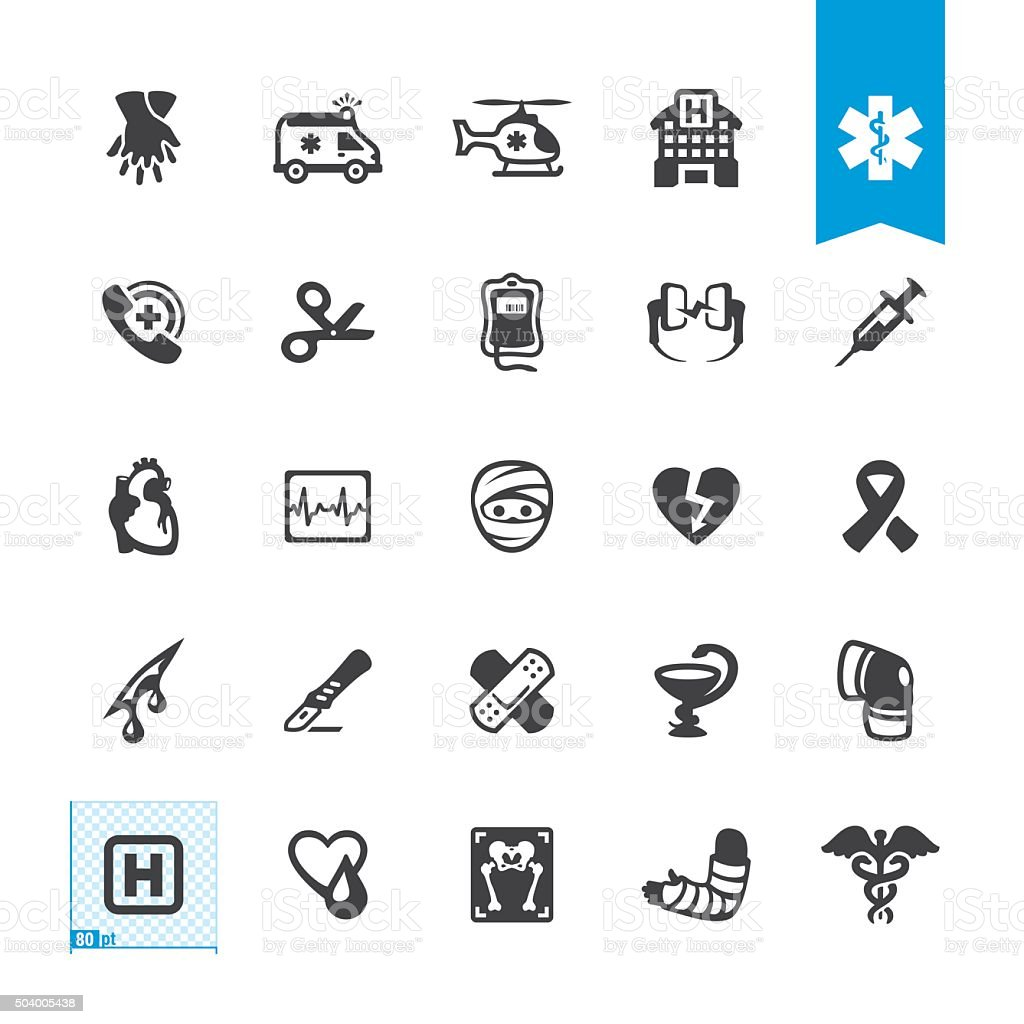 Emergency Services and Ambulance related vector icons vector art illustration