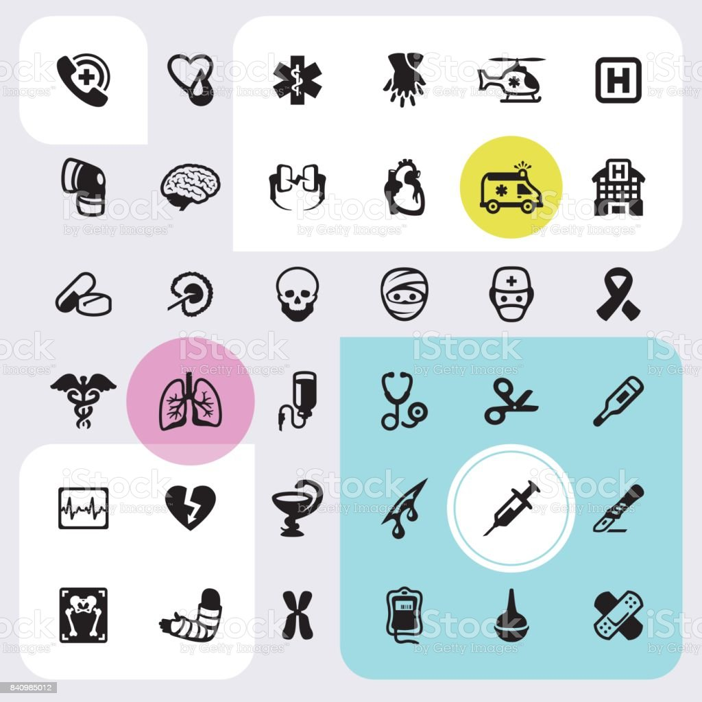 Emergency Services and Clinic - icons set vector art illustration