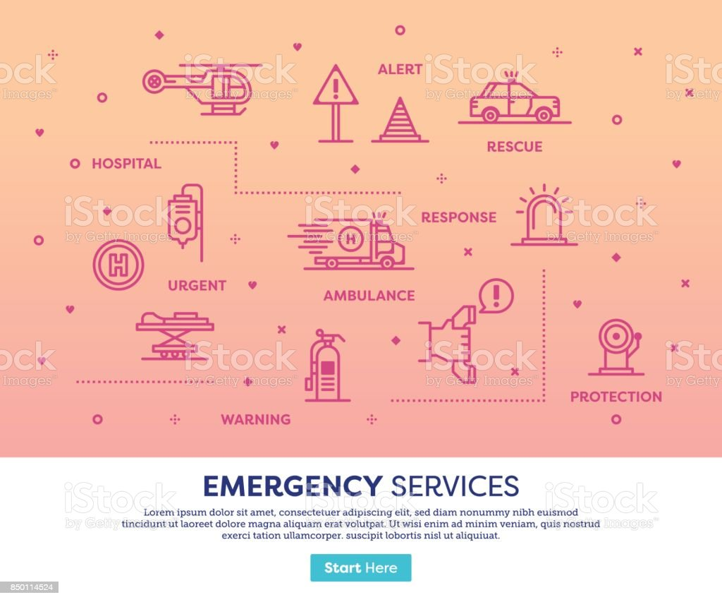 Emergency Services Concept vector art illustration