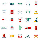 Emergency Services Flat Design Icon Set